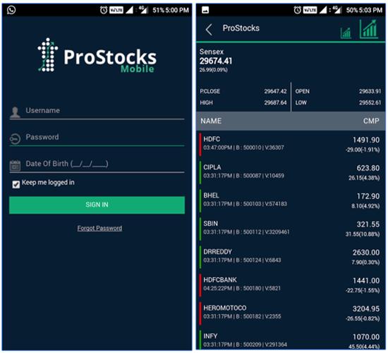 Login to ProStocks Mobile App