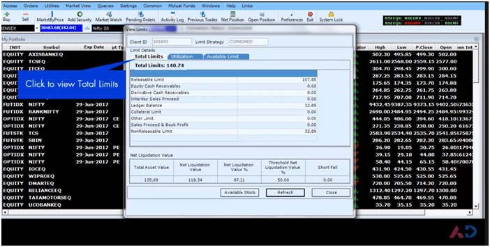 AxisDirect Trade Limit tracker